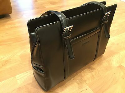 Franklin Covey Black Leather Laptop Bag - Business Travel Bag - Briefcase