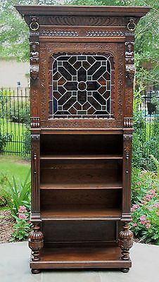 Antique French Oak Neo Renaissance Stained Glass Display Cabinet Bookcase SLIM