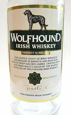 Wolfhound Irish Whiskey Whisky Bottle Made in Ireland Irish Wolfhound on Label