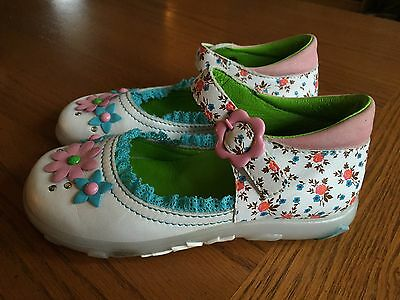 Girls Oilily White Floral Frilly Mary Janes Spring Easter Eur 29