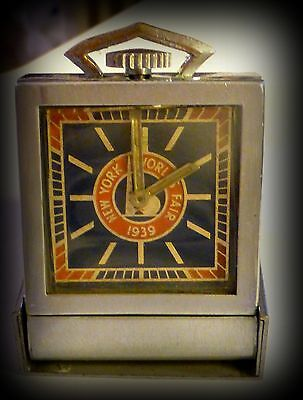 New York Worlds Fair Miniature Desk Clock-REPAIR