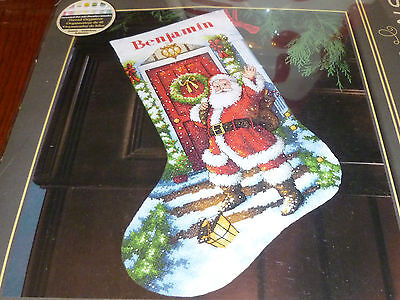 Dimensions Gold Counted Xstitch Kit Xmas Stocking Welcome Santa  14 Ct New
