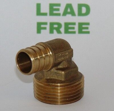 "3/4"" PEX x 1"" Male NPT Threaded Elbow - Brass Crimp Fitting, LEAD-FREE"