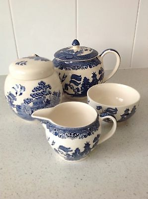 Vintage Johnson Brother Willow Teapot And Accessories