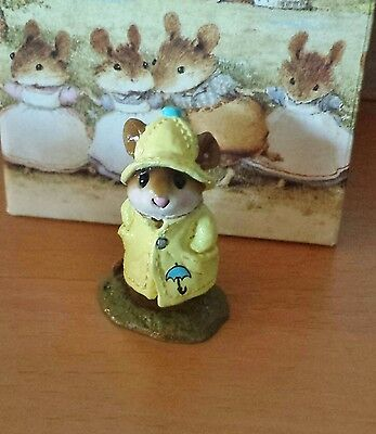"""Wee Forest Folk, M-180, """"April Showers"""" Yellow with Umbrella Mint"""