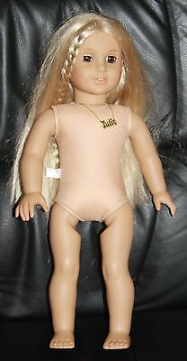 """American Girl Julie Doll 18"""" blonde brown eyes with necklace NO clothes box book"""