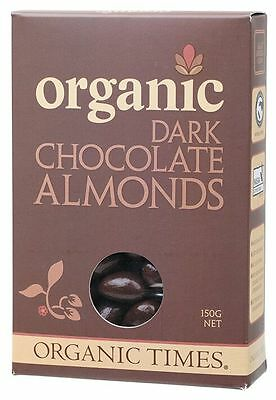ORGANIC TIMES Organic Dark Chocolate Almonds 150g   x 2 boxes