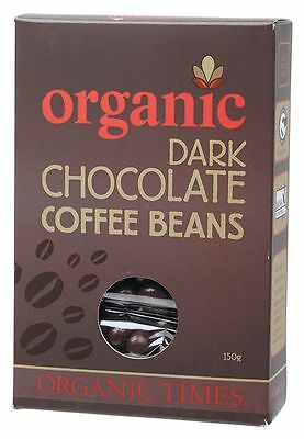 ORGANIC TIMES Organic Dark Chocolate Coffee Beans 150g   x 2 boxes