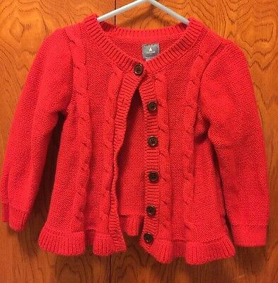 Baby Gap Toddler Girl Red Cable Button Sweater Cardigan 18-24 Months EUC!