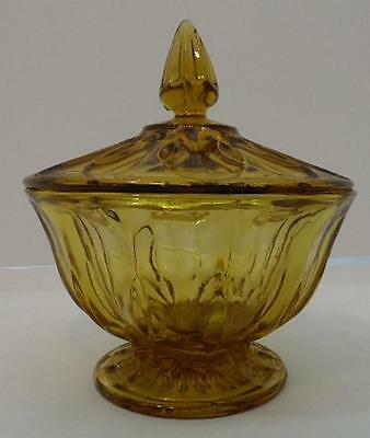 Vintage Yellow Glass Candy Dish With Lid