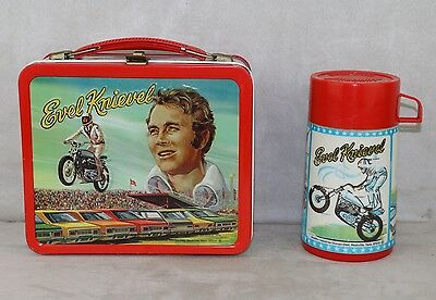 Evel Knievel 1974 Aladdin Lunchbox & Thermos Old Store Stock