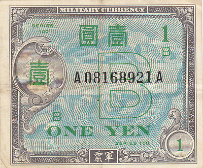 JAPAN: 1 YEN, P-67a ALLIED OCCUPATION CURRENCY NOTE, WWII