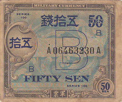 Japan: 50 Sen, P-65 Allied Occupation Currency Note, Wwii