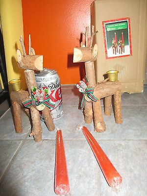 2 Vintage CHRISTMAS AROUND THE WORLD Natural BARK Reindeer Candle Holders in Box