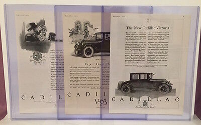 Lot of 3 Original 1922 & 1923 Cadillac Advertisements - Vintage Ads