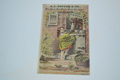 Old Victorian trade card advertising A L Foster & Co combination clothiers