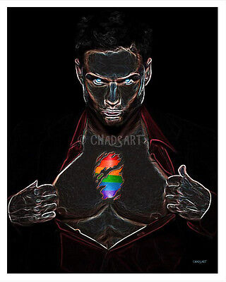 """Fantasy Art """"CLOTHES DON'T MAKE THE MAN""""-Print-11"""" x 14""""-Gay-Male Figure-Hot Guy"""