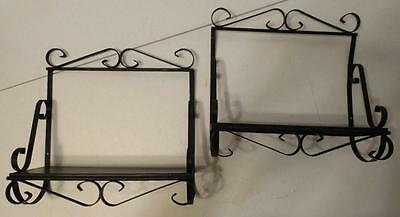 Set Of 2 Black Metal Wall Shelves With Scroll Design
