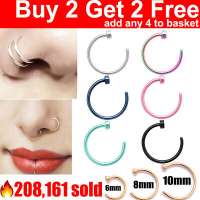Small Thin Surgical Steel Open Nose Ring Hoop Piercing Stud 7 Colour 3 Size UK