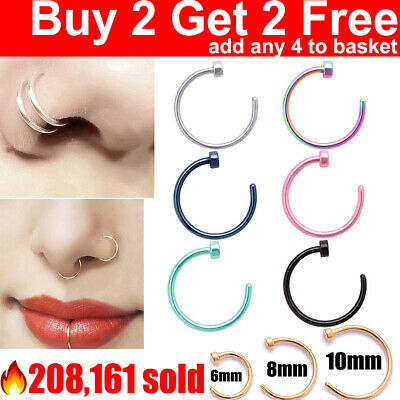 Surgical Steel Open Nose Ring Nose Hoop Lip Nose Piercing Stud 7 Colour 3 Size