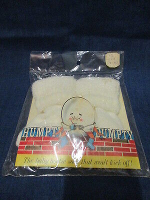 Vintage Humpty Dumpty Baby Bootie Acrylic Socks~White~0~9 mths~NOS