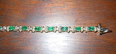 Oval Emerald & Diamond Tennis Bracelet 14k Yellow Gold May Birthstone