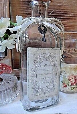 Vintage Mid Century FRENCH Style Bottle with METAL KEY  -  Apothecary Glass Jar