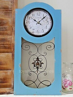 French Antique Paris - French Provincial Shabby Chic - Turquoise Wall CLOCK