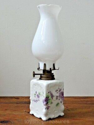 Vintage  LAMP Porcelain with white glass shade - Brass fixture Numbered
