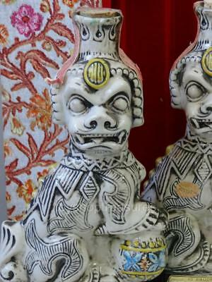 Vintage Chinese Guardian Lion Foo Dogs French Garnier Decanters  Italy Porcelain