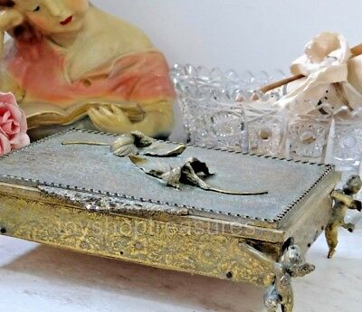 Large - Stunning 24KT Gold Plated Vintage Jewellery Box with Cherub and Flowers