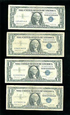Lot of 4 One Dollar Silver Certificates.  Series 1957B - Blue seal