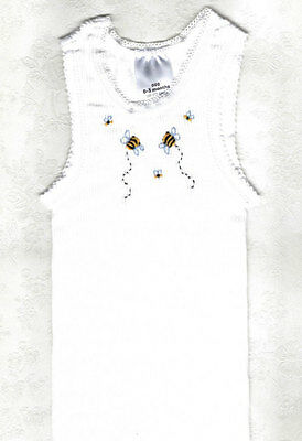 Hand Embroidered Baby White Bee Singlet Size 0