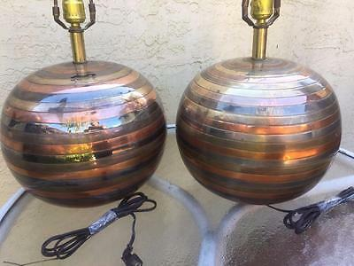 Pair Of Modernist Round Machine Age Globe Form Striped Mixed Metals Table Lamps
