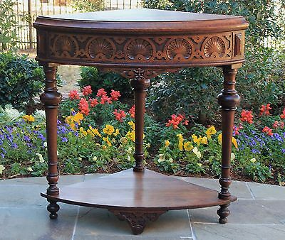 Antique French Oak Henri II Style 2-Tier Corner Table Hall Entry Display Table