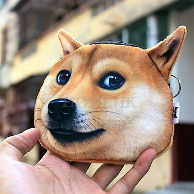 Shiba Dog 3D Coin Bag Brown Case Purse Emboss Wallet Holder Toy Puppy Japan Gift