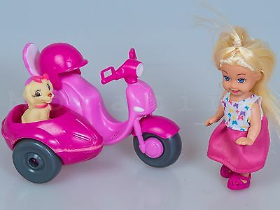 Doll with Scooter Sidecar and Dog Motor Scooter Helmet Scooter