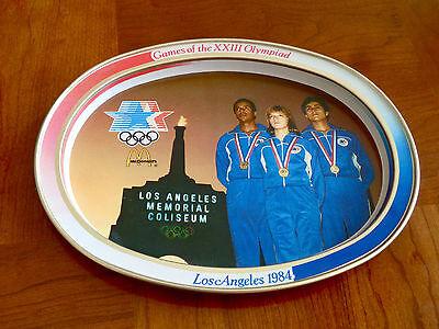 McDONALD'S METAL TIN OVAL TRAY 1984 OLYMPICS LOS ANGELES ADVERTISING COLLECTIBL