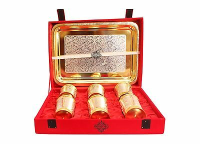 Gold Silver Plated 6 Glass 250 ML Tumbler 1 Serving Tray Gift Item Home Decore