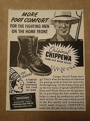 1943 Chippewa Farm and Work Shoes Boot Ad
