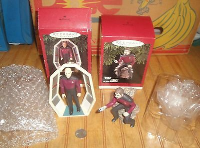 Lot of 2 Star Trek Hallmark 1995/96 Ornaments ( Riker and Picard)