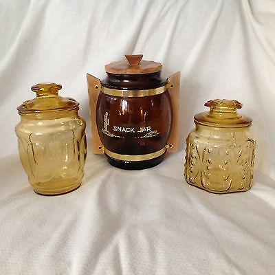 3 Mixed Vintage Amber Glass Canister Cookie Jar Kitchen