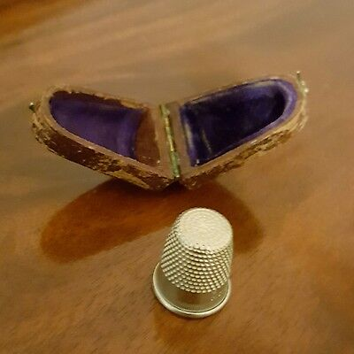 Antique Solid Nickel Silver Thimble w/Case-  FREE SHIPPING