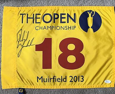 Phil Mickelson Signed 2013 British Open Official Golf Flag Muirfield Jsa