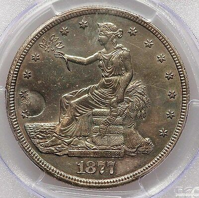 1877-S Trade Silver Dollar PCGS AU58 Chop Mark About Uncirculated Type Coin