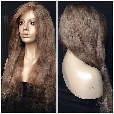 "20"" Blonde Brown Highlights Front Lace Medium Remy Human Hair Glueless Full Wig"