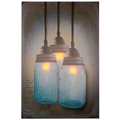 Ohio Wholesale Canning Jar Chandelier Canvas Radiance Lighted Wall Art High Qual