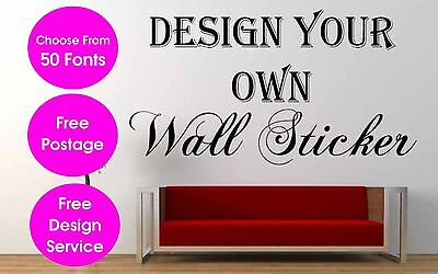 Personalised Wall Sticker Custom Vinyl Decal  Wall Art SMALL Size 15cm X 40cm