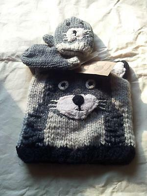 BN NEXT hand knitted lined hat & mittens set age 3-6 years