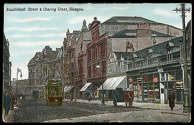 oOld colour postcard Sauchiehall Street & Charing Cross Glasgow early 1900's